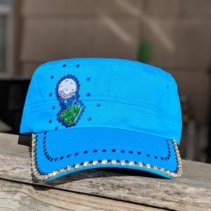 New 1 of a kind turquoise golf bling cap